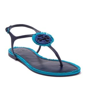Tory Burch Miller Fringed Leather T-Strap Sandal
